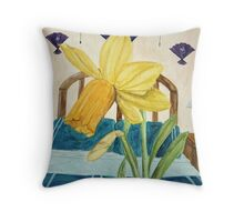 Jonquil In a Blue Room Throw Pillow