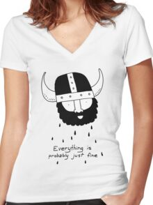 Everything is probably just fine Viking Women's Fitted V-Neck T-Shirt