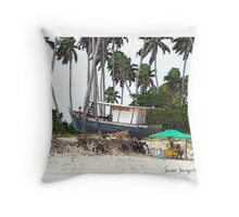Moored Between the Palms Throw Pillow