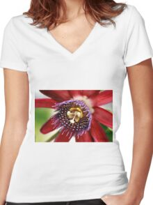 Red and Purple Passion Women's Fitted V-Neck T-Shirt