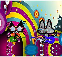 Hippie Cats Play Rock and Roll  Photographic Print