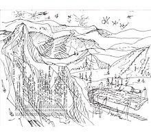 LAST HELI-RUN TODAY(C2013)(INK PEN DRAWING) Photographic Print