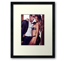 Sexy couple portrait woman in lingerie and man in suit art photo print Framed Print