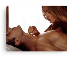 Sensual portrait of a couple playing with ice art photo print Canvas Print