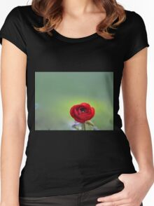 Red Ranunculus Macro  Women's Fitted Scoop T-Shirt