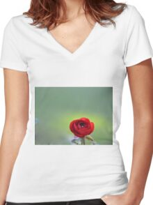 Red Ranunculus Macro  Women's Fitted V-Neck T-Shirt