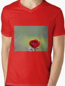 Red Ranunculus Macro  Mens V-Neck T-Shirt
