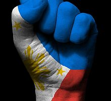Flag of The Philippines on a Raised Clenched Fist  by Jeff Bartels