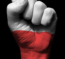 Flag of Poland on a Raised Clenched Fist  by Jeff Bartels