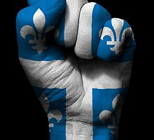 Flag of Quebec on a Raised Clenched Fist  by Jeff Bartels