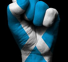 Flag of Scotland on a Raised Clenched Fist  by Jeff Bartels