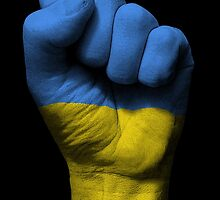 Flag of Ukraine on a Raised Clenched Fist  by Jeff Bartels