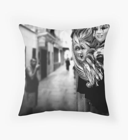 Carnival masks with the smoking man, Venice 2002 Throw Pillow