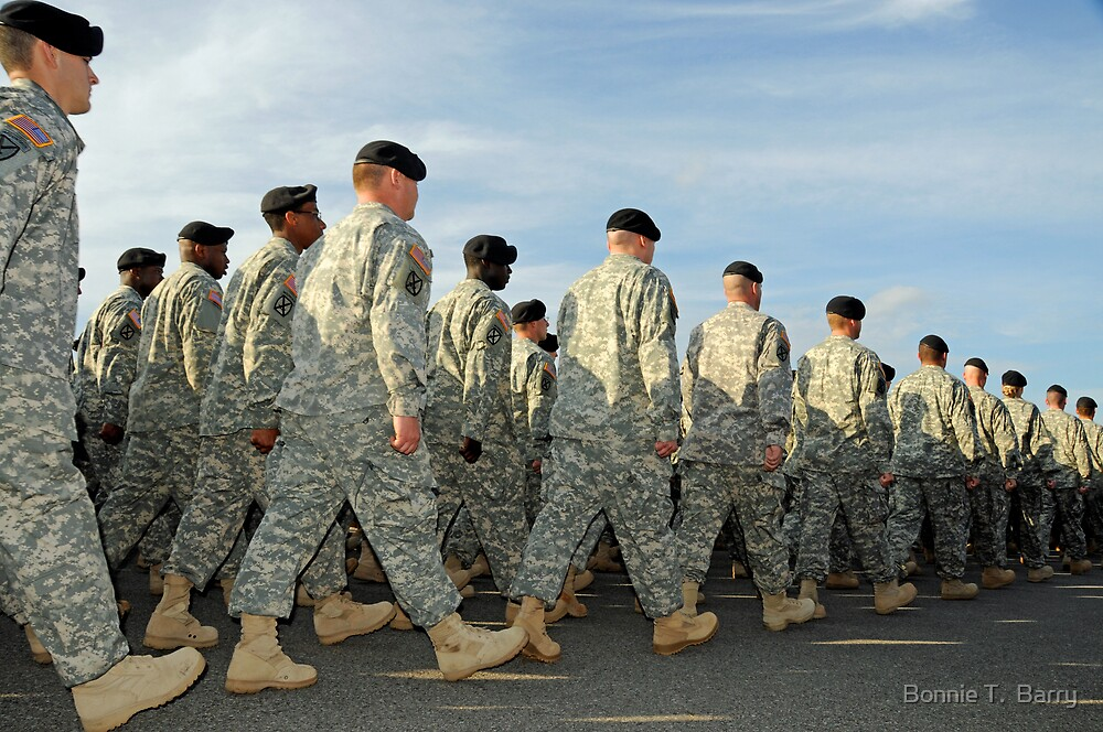 Soldiers in step  by Bonnie T.  Barry