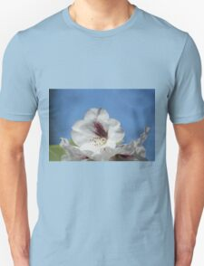 Pretty White Rhododendron with Burgundy T-Shirt
