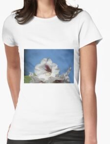 Pretty White Rhododendron with Burgundy Womens Fitted T-Shirt