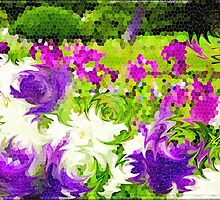 Abstract Stained Glass Iris Garden Mosaic by Beverly Claire Kaiya