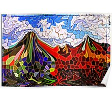 Psychedelic Mountains Abstract Stained Glass Mosaic Poster