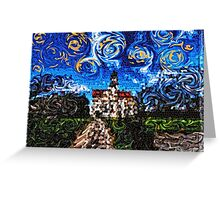 Starry Night Mosaic Church Swirling Stars Stained Glass Greeting Card