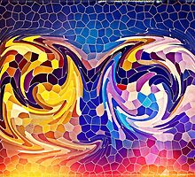 Two Dragons Sleeping Abstract Stained Glass Mosaic by Beverly Claire Kaiya