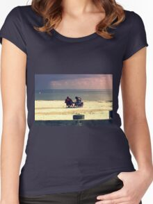 white tropical beach Women's Fitted Scoop T-Shirt