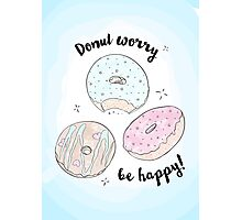 Hand drawn watercolor donuts Photographic Print
