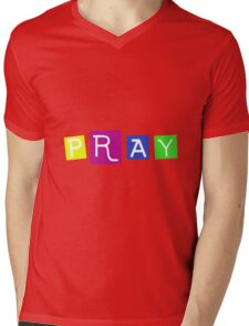 PRAY Blocks Mens V-Neck T-Shirt