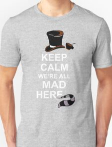 Keep Calm We're All Mad Here Funny Geek Nerd T-Shirt