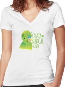 Crazy budgie lady (Budgerigar bird) Women's Fitted V-Neck T-Shirt