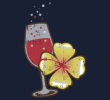 Holiday tropical drink red wine glass bubbles distressed version Kids Clothes