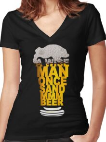 MMM BEER! Funny Geek Nerd Women's Fitted V-Neck T-Shirt