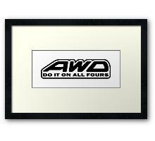 AWD Do It On All Fours (White) Framed Print
