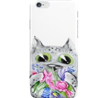 Watercolor cat with flowers iPhone Case/Skin