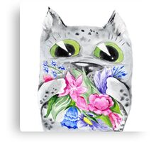 Watercolor cat with flowers Canvas Print