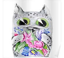 Watercolor cat with flowers Poster