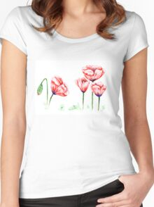 Watercolor poppies illustration Women's Fitted Scoop T-Shirt
