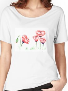 Watercolor poppies illustration Women's Relaxed Fit T-Shirt