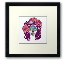 Colorful Sugar Skull Woman Framed Print