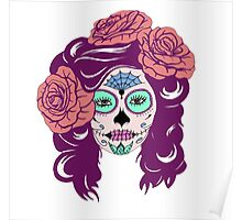 Colorful Sugar Skull Woman Poster