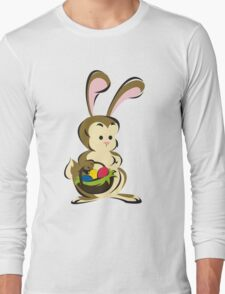 Easter Bunny with a Basket of Eggs Long Sleeve T-Shirt