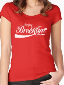 ENJOY BROOKLYN*red/wht Women's Fitted Scoop T-Shirt