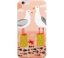 Seagulls - Bird Art, Coastal Nautical Summer Bird Print by Andrea Lauren iPhone Case/Skin