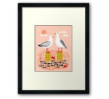 Seagulls - Bird Art, Coastal Nautical Summer Bird Print by Andrea Lauren Framed Print