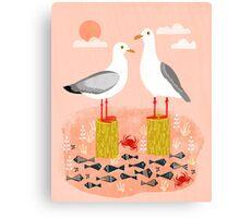 Seagulls - Bird Art, Coastal Nautical Summer Bird Print by Andrea Lauren Canvas Print