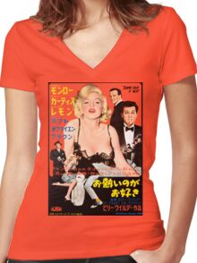 Grindhouse Lounge presents: Monroe! (Japanese promo) Women's Fitted V-Neck T-Shirt