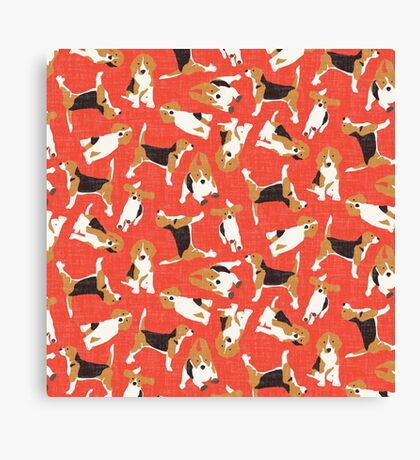 beagle scatter coral Canvas Print