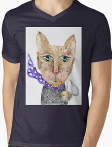 Matrix cat Mens V-Neck T-Shirt