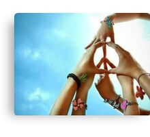 Peace Is Created Through Various Hands Joining Together Canvas Print