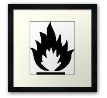 Flammable Warning Sign Framed Print
