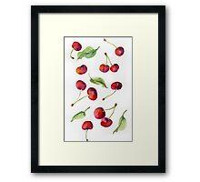 Watercolor  cherry. Raster illustration. Framed Print